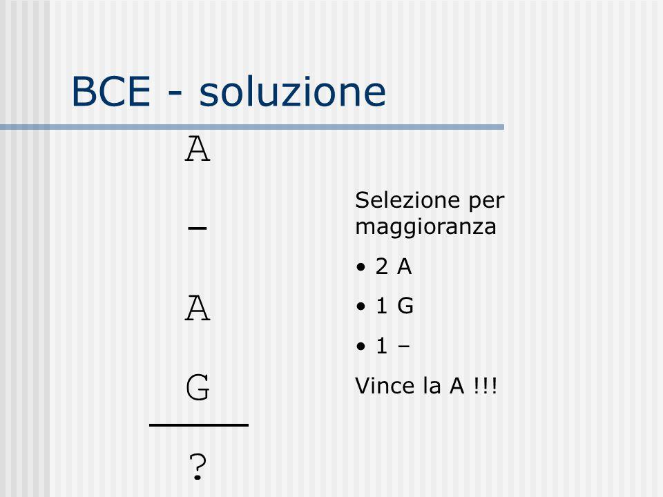 BCE - soluzione A - A G ? Selezione per maggioranza 2 A 1 G 1 – Vince la A !!!