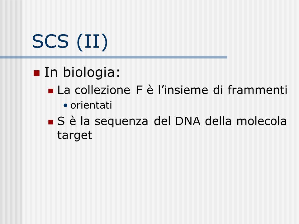 SCS (II) In biologia: La collezione F è l'insieme di frammenti orientati S è la sequenza del DNA della molecola target