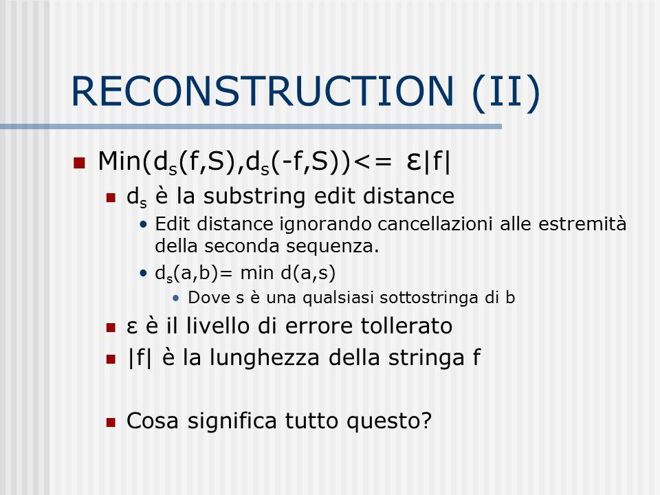 RECONSTRUCTION (II) Min(d s (f,S),d s (-f,S))<= ε |f| d s è la substring edit distance Edit distance ignorando cancellazioni alle estremità della seco