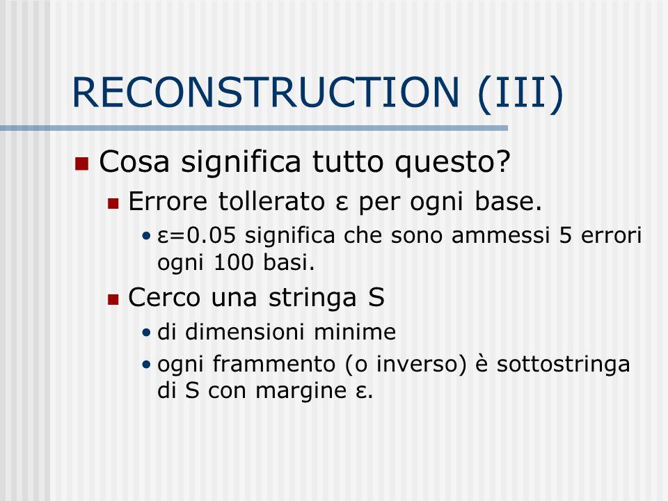 RECONSTRUCTION (III) Cosa significa tutto questo? Errore tollerato ε per ogni base. ε=0.05 significa che sono ammessi 5 errori ogni 100 basi. Cerco un