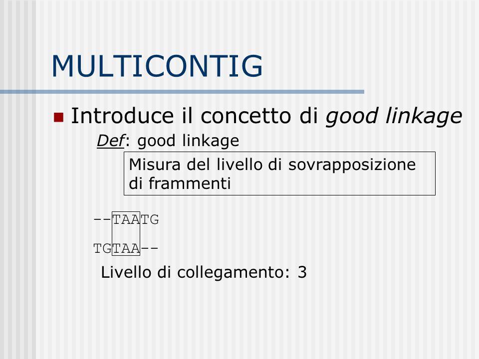 MULTICONTIG Introduce il concetto di good linkage Def: good linkage Misura del livello di sovrapposizione di frammenti --TAATG TGTAA-- Livello di coll