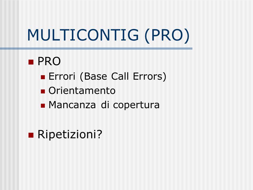 MULTICONTIG (PRO) PRO Errori (Base Call Errors) Orientamento Mancanza di copertura Ripetizioni?