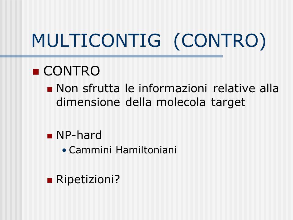 MULTICONTIG (CONTRO) CONTRO Non sfrutta le informazioni relative alla dimensione della molecola target NP-hard Cammini Hamiltoniani Ripetizioni?