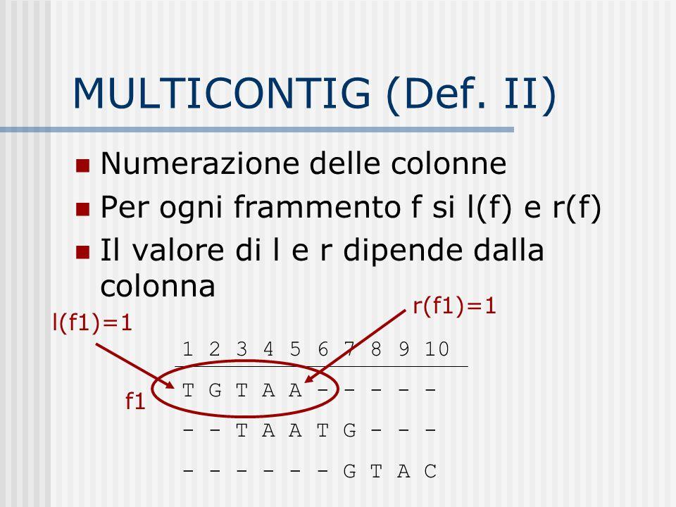 MULTICONTIG (Def. II) Numerazione delle colonne Per ogni frammento f si l(f) e r(f) Il valore di l e r dipende dalla colonna 1 2 3 4 5 6 7 8 9 10 T G