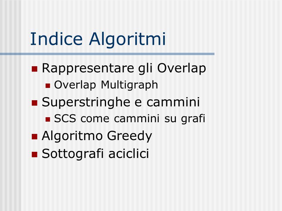 Indice Algoritmi Rappresentare gli Overlap Overlap Multigraph Superstringhe e cammini SCS come cammini su grafi Algoritmo Greedy Sottografi aciclici