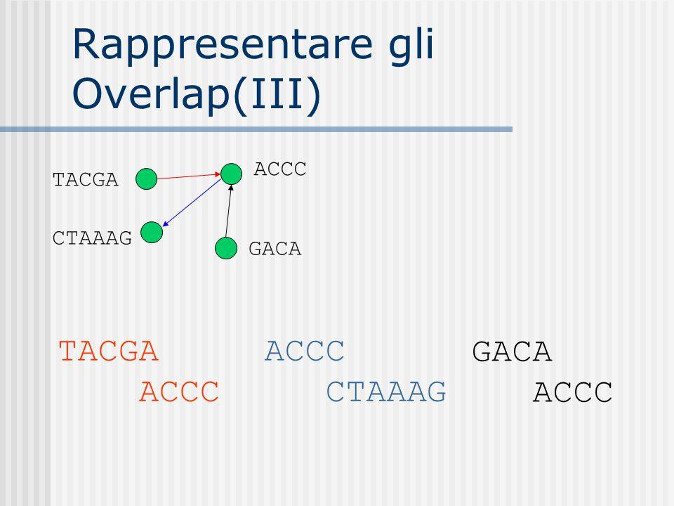 Rappresentare gli Overlap(III) TACGA CTAAAG GACA ACCC TACGA ACCC GACA ACCC CTAAAG