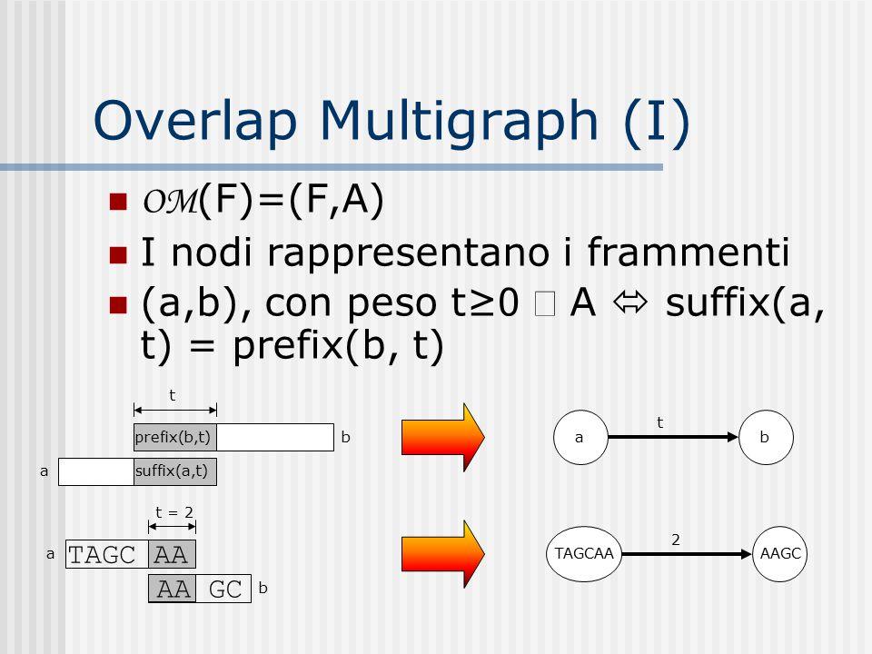 Overlap Multigraph (I) OM (F)=(F,A) I nodi rappresentano i frammenti (a,b), con peso t≥ 0  A  suffix(a, t) = prefix(b, t) suffix(a,t) prefix(b,t) a