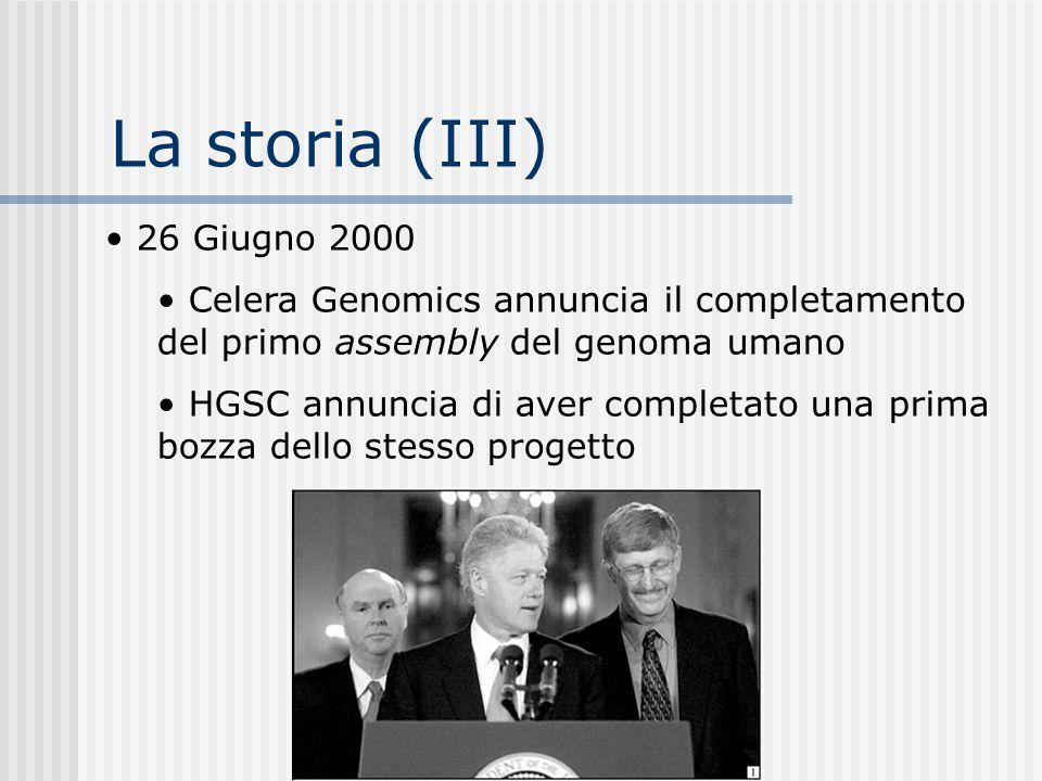 La storia (III) 26 Giugno 2000 Celera Genomics annuncia il completamento del primo assembly del genoma umano HGSC annuncia di aver completato una prim