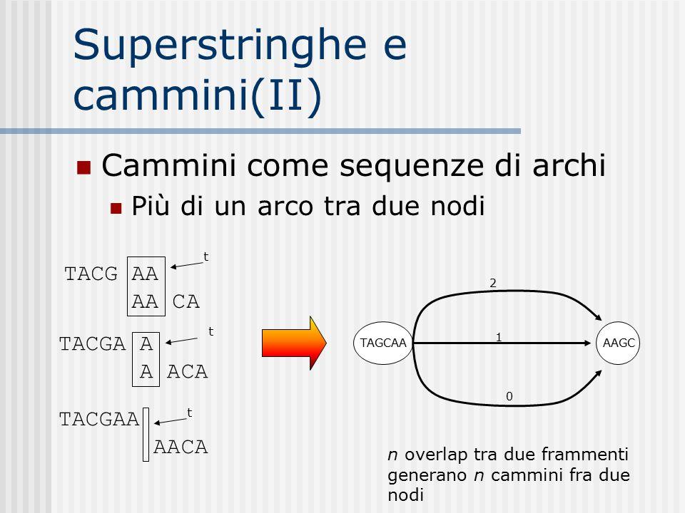 Superstringhe e cammini(II) Cammini come sequenze di archi Più di un arco tra due nodi TACG AA AA CA TACGA A A ACA TACGAA AACA t t t TAGCAAAAGC 2 0 1