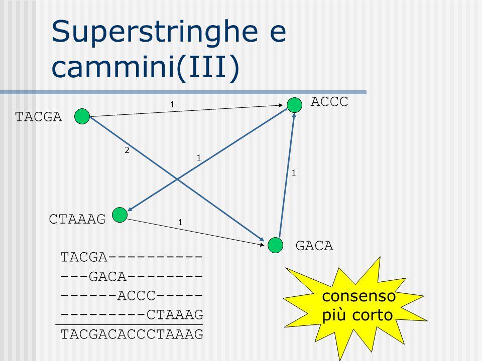 Superstringhe e cammini(III) 2 1 1 1 1 TACGA CTAAAG GACA ACCC TACGA---------- ---GACA-------- ------ACCC----- ---------CTAAAG TACGACACCCTAAAG consenso