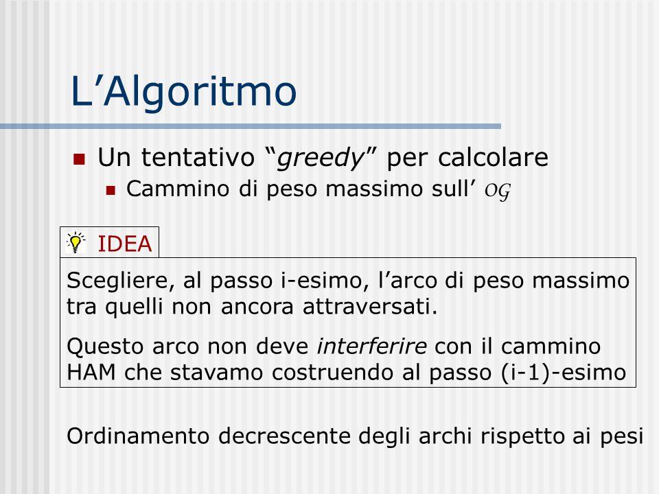 """L'Algoritmo Un tentativo """"greedy"""" per calcolare Cammino di peso massimo sull' OG Scegliere, al passo i-esimo, l'arco di peso massimo tra quelli non an"""