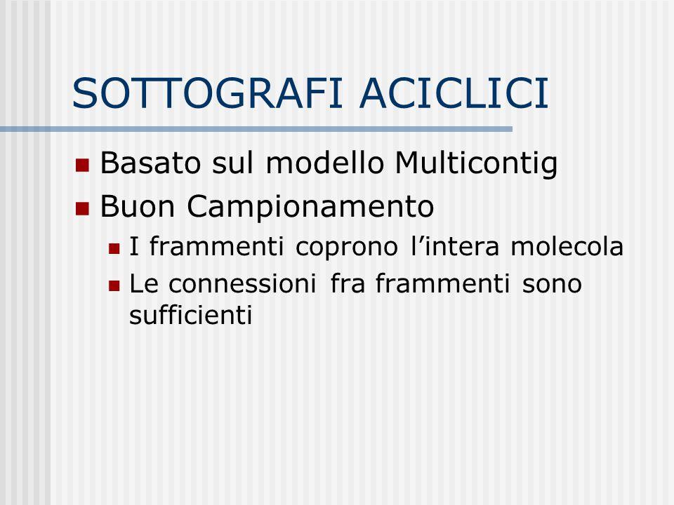 SOTTOGRAFI ACICLICI Basato sul modello Multicontig Buon Campionamento I frammenti coprono l'intera molecola Le connessioni fra frammenti sono sufficie