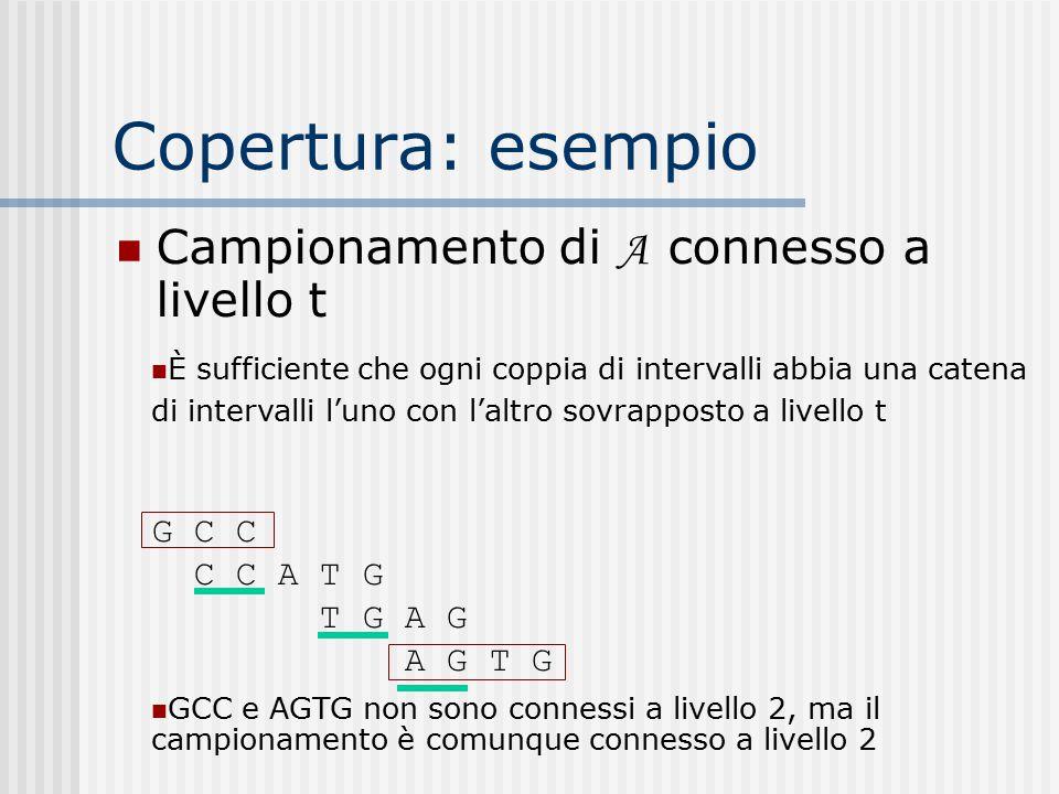 Copertura: esempio Campionamento di A connesso a livello t È sufficiente che ogni coppia di intervalli abbia una catena di intervalli l'uno con l'altr