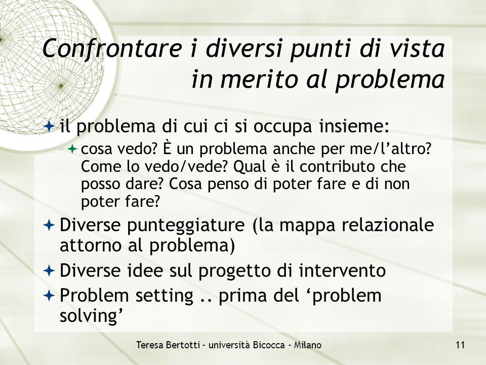Teresa Bertotti - università Bicocca - Milano11 Confrontare i diversi punti di vista in merito al problema  il problema di cui ci si occupa insieme:  cosa vedo.