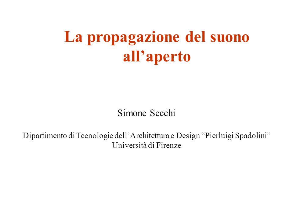 La propagazione del suono all'aperto Simone Secchi Dipartimento di Tecnologie dell'Architettura e Design Pierluigi Spadolini Università di Firenze