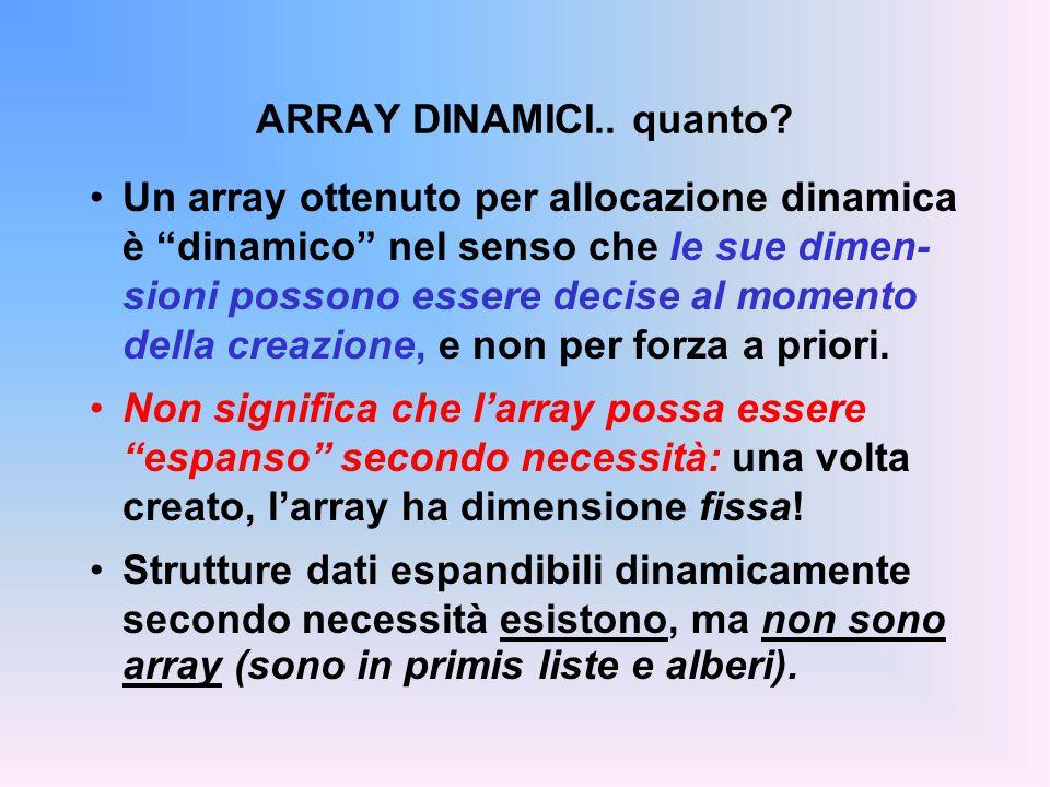 """ARRAY DINAMICI.. quanto? Un array ottenuto per allocazione dinamica è """"dinamico"""" nel senso che le sue dimen- sioni possono essere decise al momento de"""