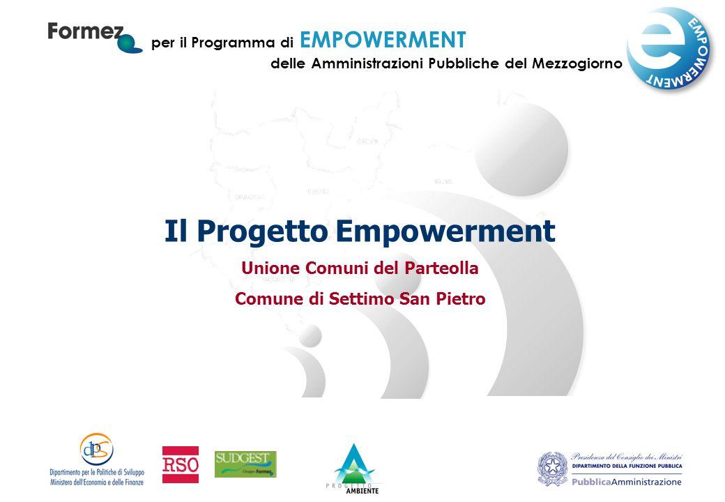 per il Programma di EMPOWERMENT delle Amministrazioni Pubbliche del Mezzogiorno Il Progetto Empowerment Unione Comuni del Parteolla Comune di Settimo San Pietro
