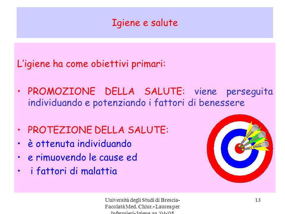 Università degli Studi di Brescia- Facolatà Med. Chiur.- Laurea per Infermieri- Igiene aa.'04-'05 13 Igiene e salute L'igiene ha come obiettivi primar