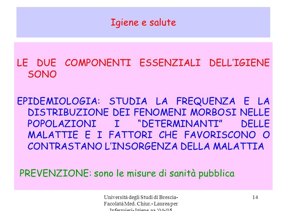 Università degli Studi di Brescia- Facolatà Med. Chiur.- Laurea per Infermieri- Igiene aa.'04-'05 14 Igiene e salute LE DUE COMPONENTI ESSENZIALI DELL