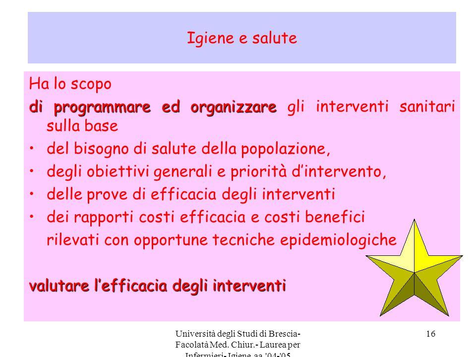 Università degli Studi di Brescia- Facolatà Med. Chiur.- Laurea per Infermieri- Igiene aa.'04-'05 16 Igiene e salute Ha lo scopo di programmare ed org