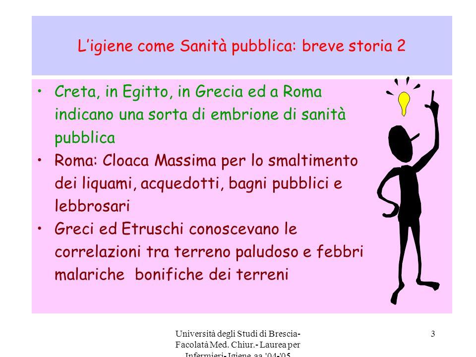 Università degli Studi di Brescia- Facolatà Med. Chiur.- Laurea per Infermieri- Igiene aa.'04-'05 3 L'igiene come Sanità pubblica: breve storia 2 Cret
