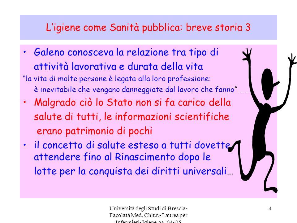 Università degli Studi di Brescia- Facolatà Med. Chiur.- Laurea per Infermieri- Igiene aa.'04-'05 4 L'igiene come Sanità pubblica: breve storia 3 Gale