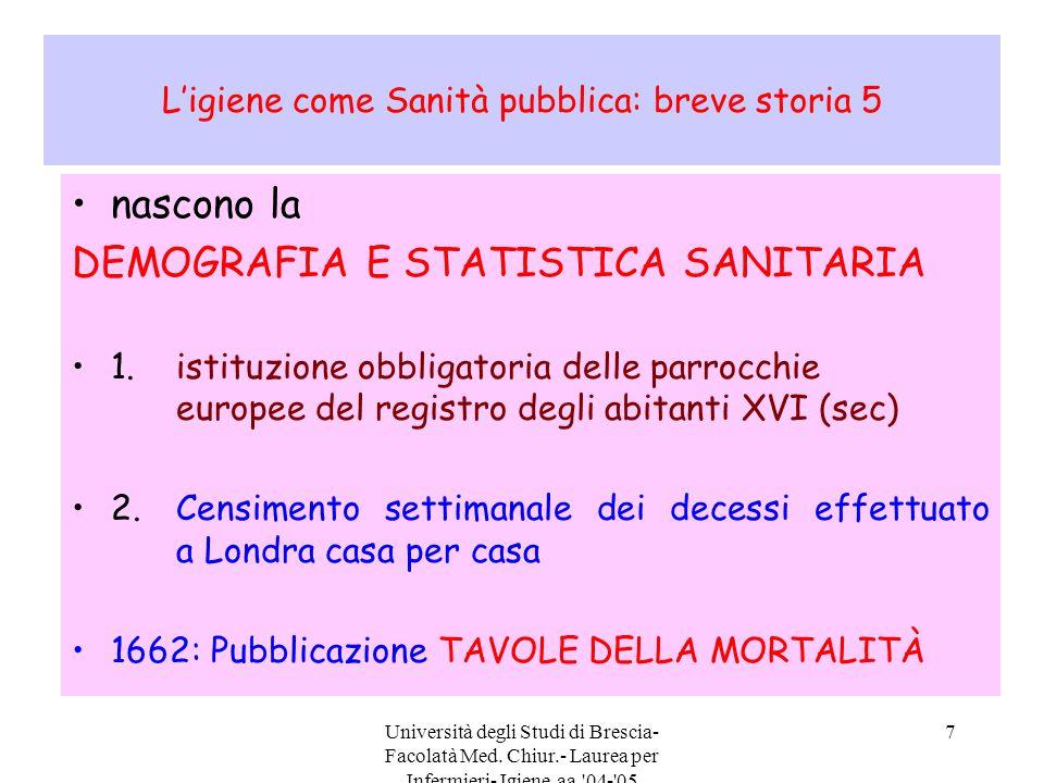 Università degli Studi di Brescia- Facolatà Med. Chiur.- Laurea per Infermieri- Igiene aa.'04-'05 7 L'igiene come Sanità pubblica: breve storia 5 nasc