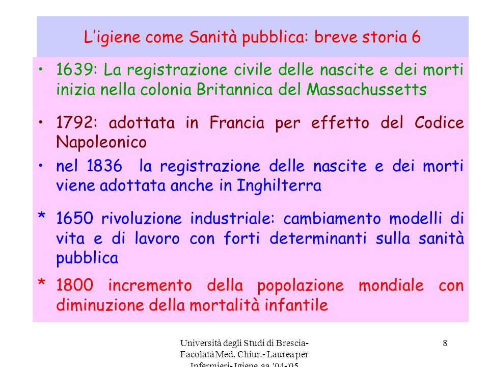 Università degli Studi di Brescia- Facolatà Med. Chiur.- Laurea per Infermieri- Igiene aa.'04-'05 8 L'igiene come Sanità pubblica: breve storia 6 1639