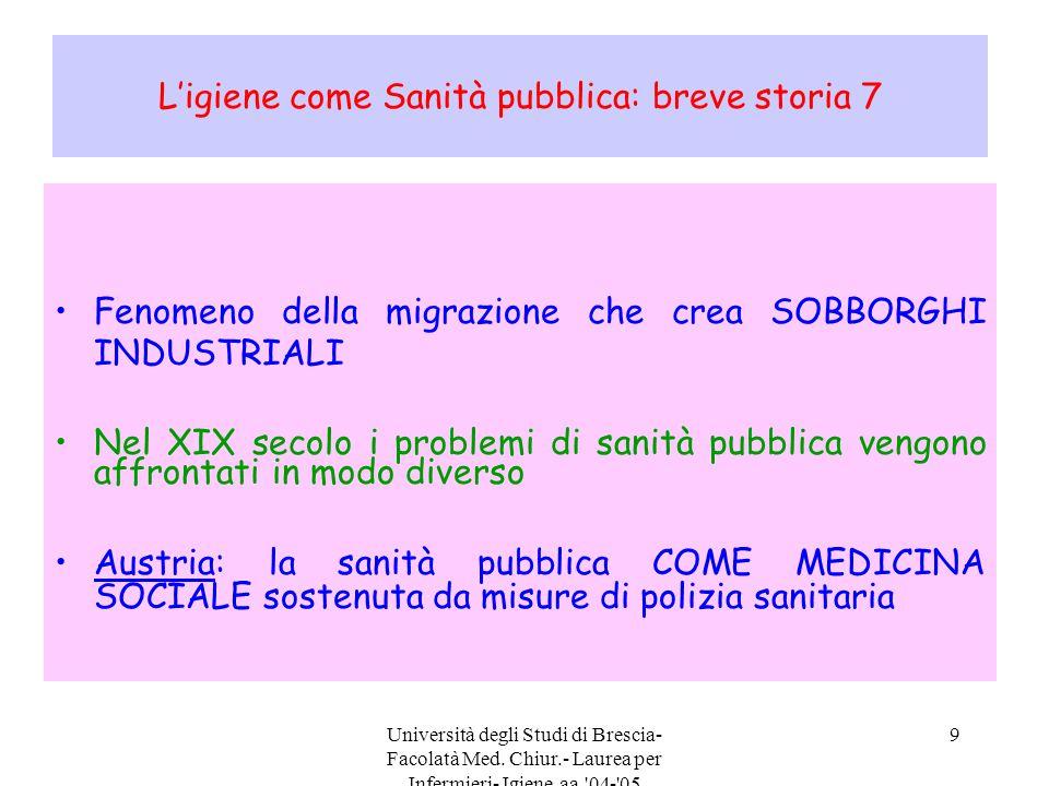 Università degli Studi di Brescia- Facolatà Med. Chiur.- Laurea per Infermieri- Igiene aa.'04-'05 9 L'igiene come Sanità pubblica: breve storia 7 Feno