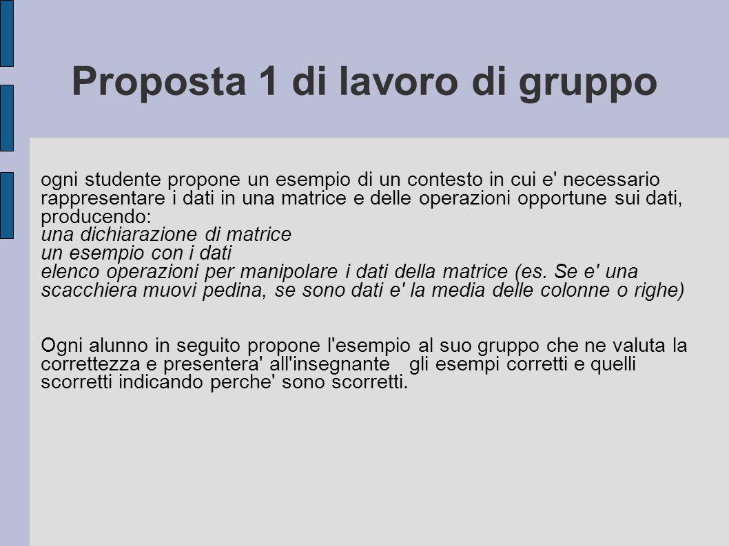 Proposta 1 di lavoro di gruppo ogni studente propone un esempio di un contesto in cui e' necessario rappresentare i dati in una matrice e delle operaz