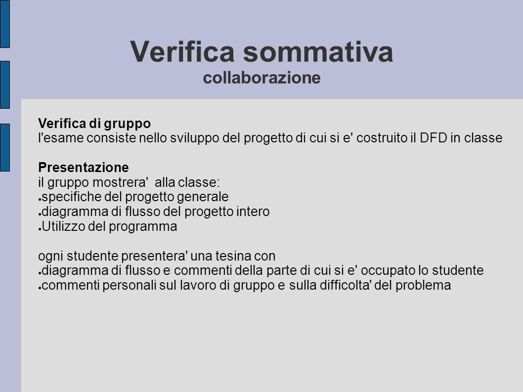 Verifica sommativa collaborazione Verifica di gruppo l'esame consiste nello sviluppo del progetto di cui si e' costruito il DFD in classe Presentazion