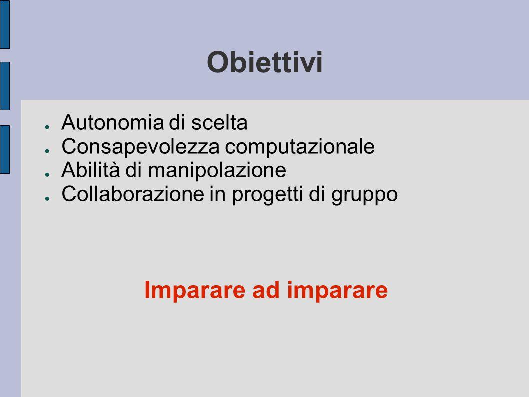 Obiettivi ● Autonomia di scelta ● Consapevolezza computazionale ● Abilità di manipolazione ● Collaborazione in progetti di gruppo Imparare ad imparare