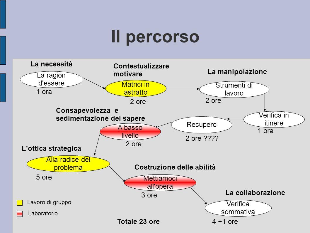 Il percorso Matrici in astratto Verifica in itinere Alla radice del problema A basso livello Mettiamoci all'opera Verifica sommativa La ragion d'esser