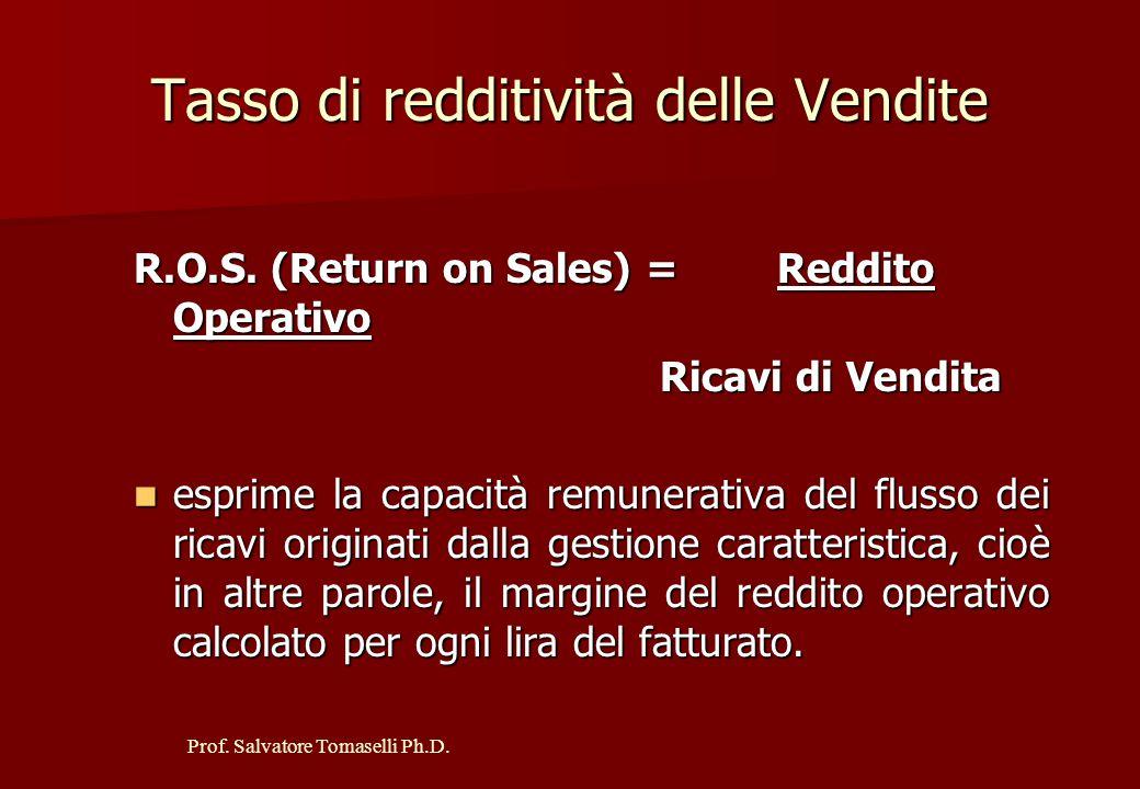 Prof. Salvatore Tomaselli Ph.D. Tasso di redditività operativa R.O.I. (Return on Investment) = Reddito Operativo Totale Investimenti Netti È l'indicat