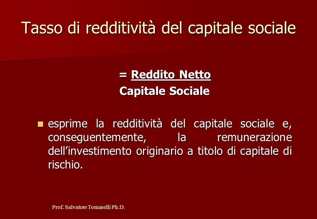 Prof. Salvatore Tomaselli Ph.D. Incidenza della Gestione non Caratteristica Reddito Netto Reddito Operativo esprime la relazione esistente fra il redd