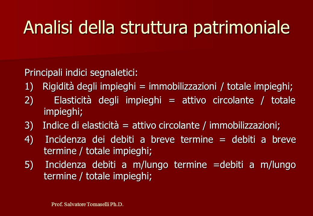 Prof.Salvatore Tomaselli Ph.D. Valutazione della situazione patrimoniale e finanziaria 1.