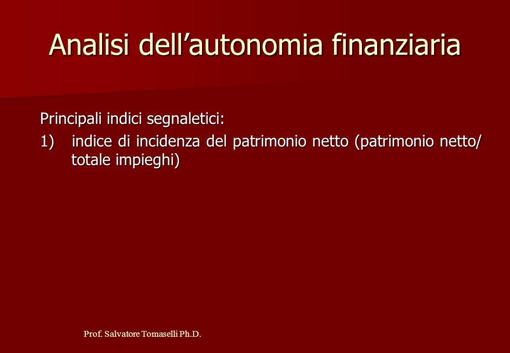 Prof. Salvatore Tomaselli Ph.D. Analisi della struttura patrimoniale Principali indici segnaletici: 1) Rigidità degli impieghi = immobilizzazioni / to