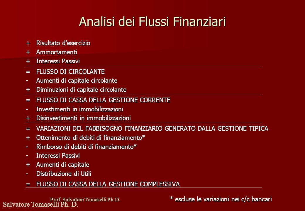 Prof. Salvatore Tomaselli Ph.D. Analisi dei Flussi Finanziari Guardano all'aspetto finanziario (entrate e uscite) e non a quello economico (ricavi e c