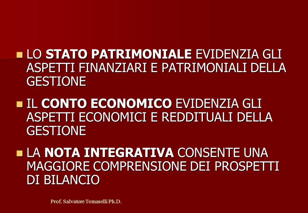 Prof. Salvatore Tomaselli Ph.D. IL BILANCIO D'ESERCIZIO E' COMPOSTO DA TRE DOCUMENTI: STATO PATRIMONIALE STATO PATRIMONIALE CONTO ECONOMICO CONTO ECON