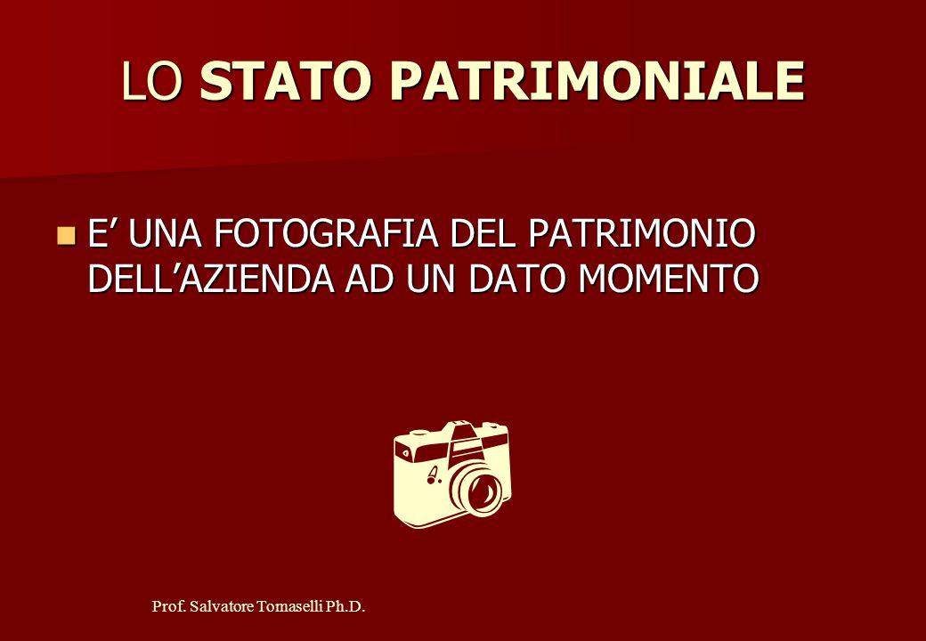Prof. Salvatore Tomaselli Ph.D. LO STATO PATRIMONIALE EVIDENZIA GLI ASPETTI FINANZIARI E PATRIMONIALI DELLA GESTIONE LO STATO PATRIMONIALE EVIDENZIA G