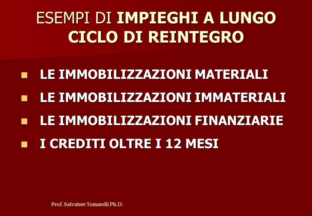 Prof.Salvatore Tomaselli Ph.D. ESEMPI DI IMPIEGHI A BREVE CICLO DI REINTEGRO 1.