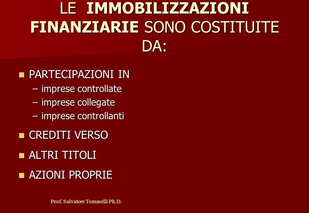Prof. Salvatore Tomaselli Ph.D. LE IMMOBILIZZAZIONI IMMATERIALI SONO COSTITUITE DA: Costi di impianto e di ampliamento Costi di impianto e di ampliame