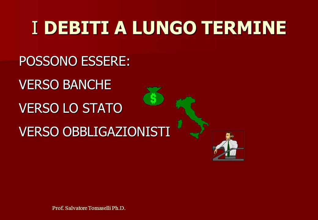 Prof. Salvatore Tomaselli Ph.D. I DEBITI A BREVE TERMINE POSSONO ESSERE: 1. VERSO FORNITORI 2. VERSO BANCHE 3. VERSO LO STATO 4. VERSO I LAVORATORI