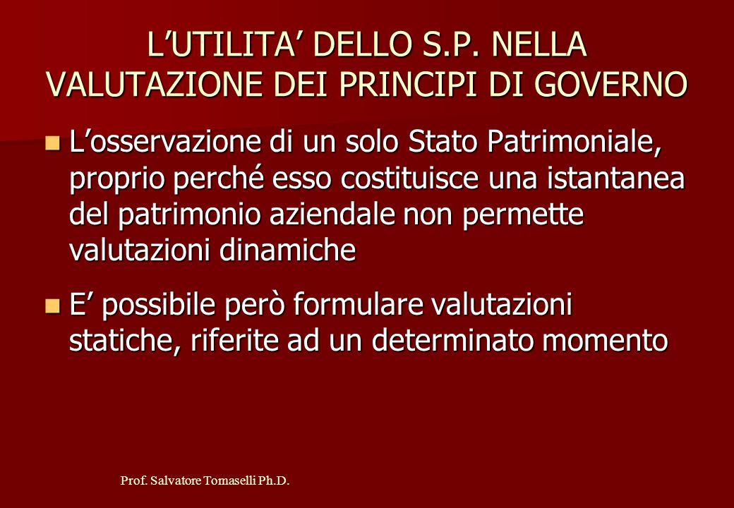 Prof. Salvatore Tomaselli Ph.D. I PRINCIPI DI GOVERNO Principio di progresso Principio di progresso Principio di unità e finalismo aziendale Principio