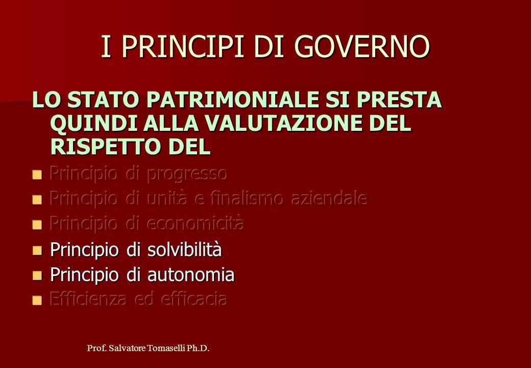 Prof. Salvatore Tomaselli Ph.D. L'UTILITA' DELLO S.P. NELLA VALUTAZIONE DEI PRINCIPI DI GOVERNO L'osservazione di un solo Stato Patrimoniale, proprio