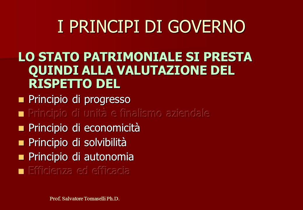 Prof. Salvatore Tomaselli Ph.D. L'UTILITA' DELLO S.P. NELLA VALUTAZIONE DEI PRINCIPI DI GOVERNO L'osservazione di più Stati Patrimoniali successivi, o