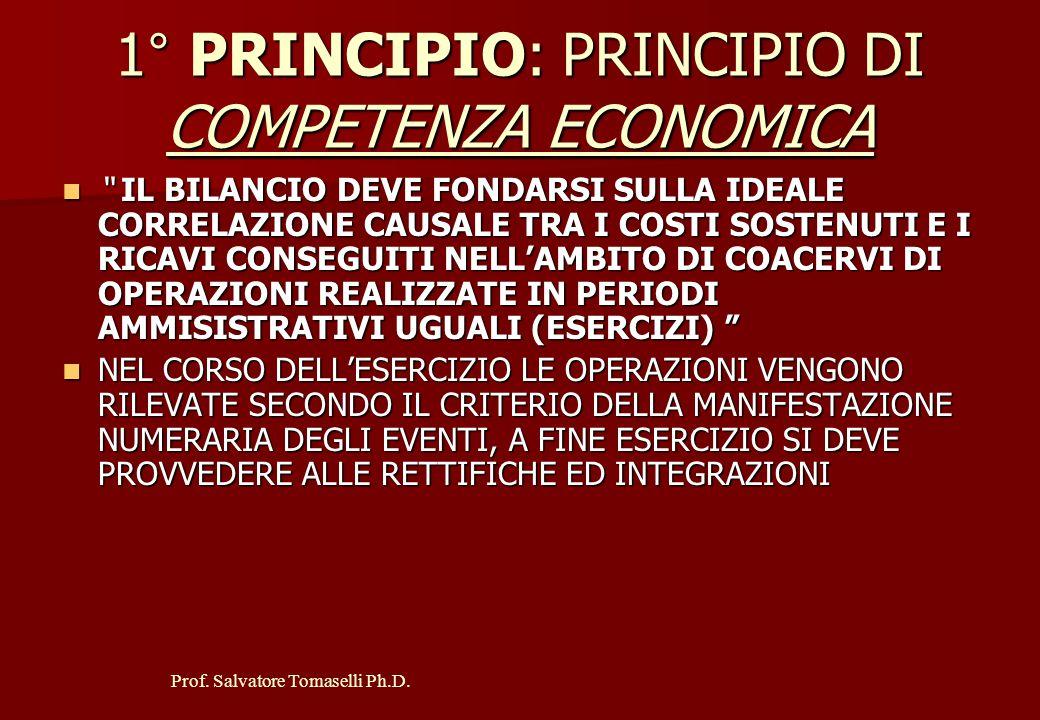 Prof. Salvatore Tomaselli Ph.D. POSTULATO DELLA RAPPRESENTAZIONE VERITIERA E CORRETTA (QUADRO FEDELE) NON SI TRATTA DI VERITA' OGGETTIVA MA CORRETTEZZ