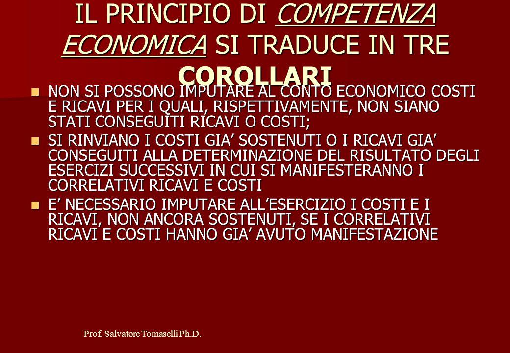 """Prof. Salvatore Tomaselli Ph.D. 1° PRINCIPIO: PRINCIPIO DI COMPETENZA ECONOMICA """" IL BILANCIO DEVE FONDARSI SULLA IDEALE CORRELAZIONE CAUSALE TRA I CO"""
