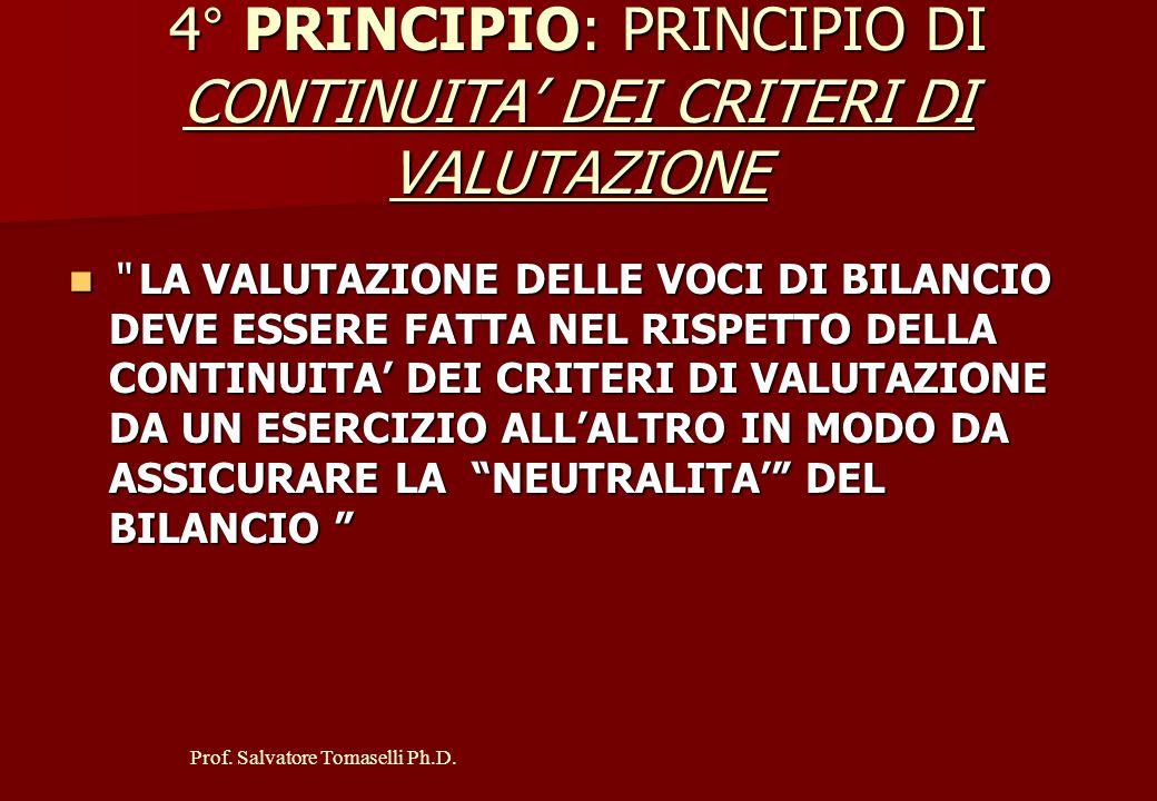 """Prof. Salvatore Tomaselli Ph.D. 3° PRINCIPIO: PRINCIPIO DI CONTINUAZIONE DELL'ATTIVITA' AZIENDALE """" LA VALUTAZIONE DELLE VOCI DI BILANCIO DEVE ESSERE"""