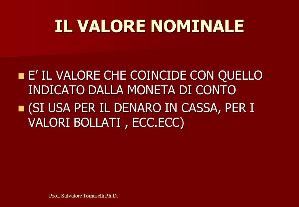 Prof. Salvatore Tomaselli Ph.D. I CRITERI DI VALUTAZIONE POSSONO ESSERE: VALORE NOMINALE VALORE NOMINALE COSTO STORICO COSTO STORICO VALORE PRESUNTO V